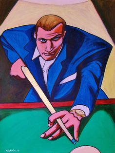 The Hustler Painting Paul Newman Cue Stick Billiards | eBay