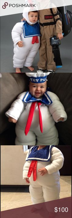 SPECIAL WEEKEND PRICE! Stay Puft Costume Handmade Stay Puft Marshmallow Man Costume. Made for my son last Halloween. Only worn for about 30 minutes. Perfect condition. So fun & very cute! Size 2T. Great for a boy or girl. Made with fleece & bunting. Red accessories & parts on hat are made with felt. Hat has elastic strap. This is an amazing costume. I hate to part with it but it will never be worn again. I would love another family to create fun, festive Halloween memories in this adorable…