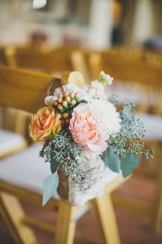 Peach and Pink Floral Aisle Decor | photography by http://www.taylorlordphotography.com/