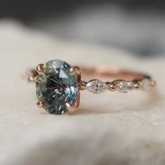 Green Engagement Rings, Green Sapphire Engagement Ring, Green Sapphire Ring, Tanzanite Engagement Ring, Alternative Engagement Rings, Engagement Ring Settings, Vintage Engagement Rings, Sapphire Rose Gold Ring, Rose Gold Rings