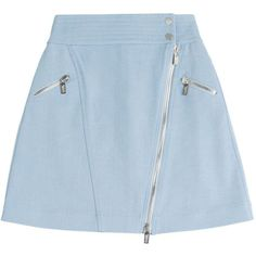 Karl Lagerfeld Cotton Skirt (740 BRL) ❤ liked on Polyvore featuring skirts, mini skirts, bottoms, blue, faldas, shiny skirt, blue cotton skirt, cotton skirts, zipper skirt and a line mini skirt