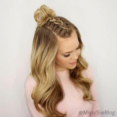 Braided top knot half updo and tons of other cute hair tutorials that can make your everyday look more fabulous. #shortbraidedhairstyles