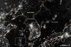 Lumínica frontera de la Guerra Fría entre las dos Coreas