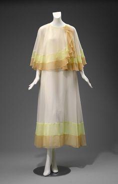1970, United Kingdom - Evening dress by John Bates - Polyester plain weave (chiffon)