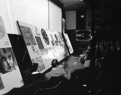Charles Eames delivering the Sample Lesson lecture to students at UCLA in 1952.