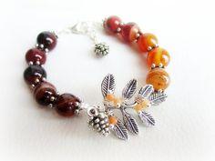 Branch bracelet stone beaded bracelet agate by MalinaCapricciosa