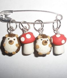 Stitch markers - Hedgehog and Mushrooms; crochet not knit