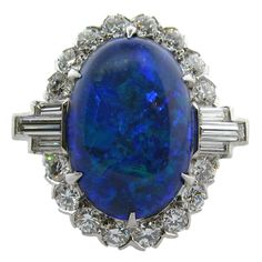 1stdibs | Spellbinding Lightning Ridge Black Opal Ring