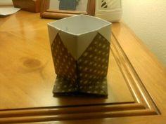 Origami pencil holder