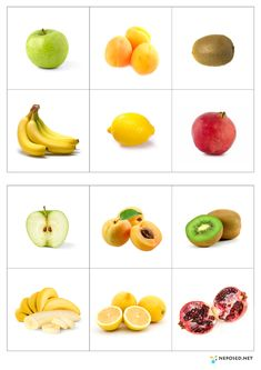 Laminate page, cut out fruits, ask children to match. Montessori Activities, Preschool Worksheets, Fruit And Veg, Fruits And Vegetables, Life Hacks For School, School Life, Kids Education, Health And Nutrition, Healthy Choices