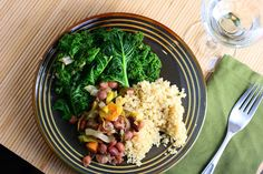 No-oil, vegan Mixed Beans with Kale and Quinoa inspired by Engine 2 Diet