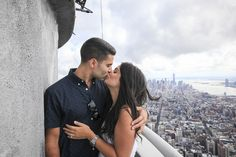 High school sweethearts Greg and Alissa had an adorable love story, and a romantic proposal to match!  One of many great shots from their Top of the Empire NYC Marriage Proposal