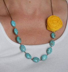 Yellow Rosette with Turquoise beads by AdornmentsbyWendi on Etsy, $20.00
