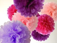 "10 x Tissue Paper Poms - Choice of 26 Colors, Wedding Pompoms, Paper Pompom, Gender Reveal Party, Baby Shower, Nursery Decor, 12"", 14"", 18"""