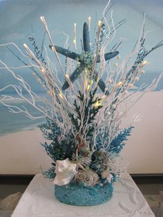 White and Blue Coral Beach Wedding Centerpiece by CeShoreTreasures~~lights up!