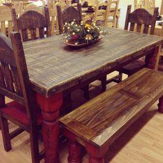 Beau Rustic Furniture Depot Www.rusticfurnituredepot.com 6u0027 Ponderosa Table Set  Dark And Red