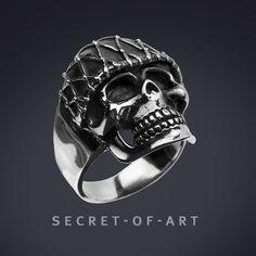 925 Silber Totenkopf Ring Skull Extrem groß Schwer Biker Gothic Schmuck Herren