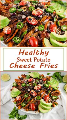 Healthy Loaded Sweet Potato Cheese Fries from www.SeasonedSprinkles.com