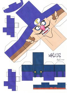 Waluigi Cubeecraft by on DeviantArt Super Mario Bros, Super Mario Birthday, Mario Birthday Party, Super Mario Party, Minecraft Birthday Party, Mario Crafts, Ninjago Coloring Pages, Halloween Scavenger Hunt, Paper Models