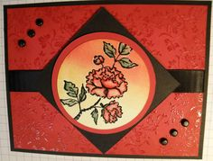 handmade card  ...  Asian Artistry Emboss Resist peony image  by dogtiredwoof  ... red and black ...