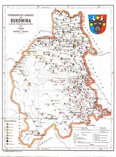 Ethnic map of Bukovina, Romania, 1910