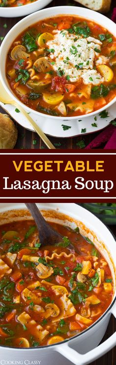 Vegetable Lasagna Soup - so hearty and delicious! Even meat lovers will love this soup!
