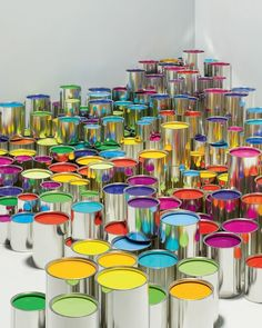 An artist's dream.paints in every color and empty walls on which to create a masterpiece. Love Rainbow, Taste The Rainbow, Rainbow Art, Over The Rainbow, Rainbow Colors, Rainbow Room, Happy Colors, All The Colors, Vibrant Colors