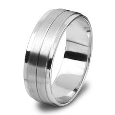 White Gold Gents Wedding Ring Line In Centre Centre, Rings For Men, Bands, White Gold, Wedding Rings, Engagement Rings, Jewels, Design, Rings For Engagement