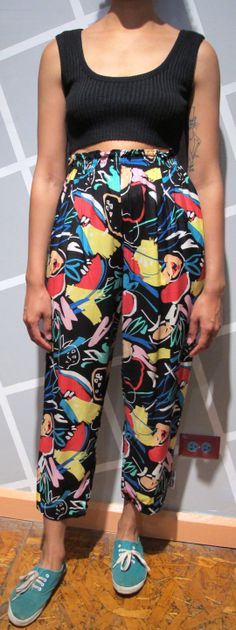 Vintage 80s Abstract Pattern High Waist Cropped by Kokorokoko, $34.00