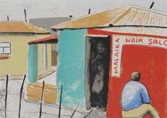 sam nhlengethwa, contemporary south african art, township art, township images, african art African Interior, African Crafts, Modern Art, Contemporary, City Scapes, South African Artists, Traditional Art, Printmaking, Playground