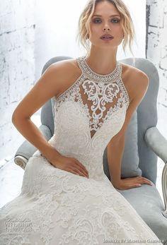 morilee 2018 bridal sleeveless halter jewel neck full embellishment elegant a line wedding dress sheer lace back long train (3) zv #weddingdress