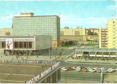 berlin - karl-marx-allee mit hotel berolina und kino international postcard, 60s, ddr/gdr, published by verlag felix satecki, berlin.