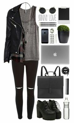 Minus the shoessss black outfit grunge, grunge winter outfits, grunge style Komplette Outfits, Indie Outfits, Fall Outfits, Casual Outfits, Fashion Outfits, Cute Punk Outfits, Fashion Ideas, Converse Fashion, Casual Wear