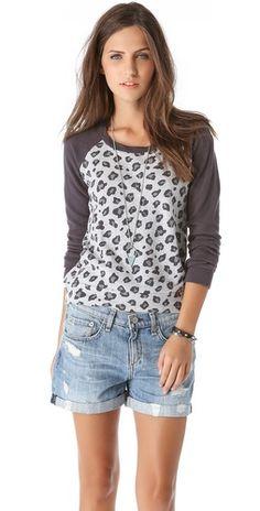 Splendid Leopard Long Sleeve Sweatshirt