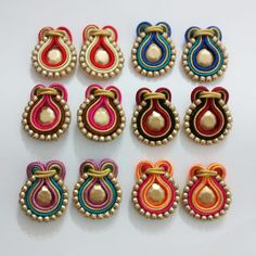Soutache Earrings, Mini Cupcakes, Jewerly, Crafts, Handmade, Design, Jewelry Model, Templates, Sequins