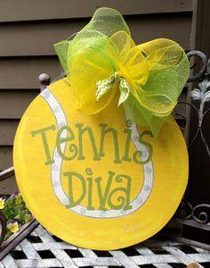 Wooden Tennis Diva  Hand Painted Door Decoration by LuluAnns, $45.00