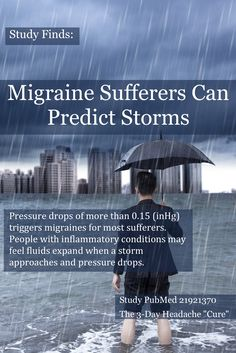 Ever wonder how the old man on a porch could predict a storm coming? Inflammatory conditions (such as arthritis or migraine) can often be felt as a storm approaches because a pressure drop actually increases the pressure in your body—like bringing a soda bottle up to a mountain.