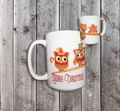 Christmas Gingerbread Owls Coffee Mug  Owls on a Branch