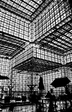 "© Timothy Schenck - ""Mr. & Ms. Architectural Silhouette Enjoy Lunch with I.M. Pei."" Javits Center, NY. S)"