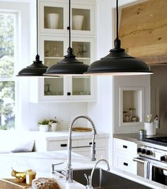 White Cabinets with Black Hardware   ... stainless steel appliances, white cabinets + white marble countertops