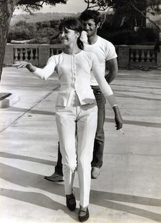"""Anna Karina & Jean Paul Belmondo on the set """" Pierrot Le Fou"""""""