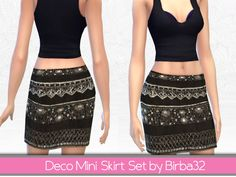 "A set with four skirt with a lot of stones, pearls, diamonds and strass. Try to mix and match with my ""Embellished top"". Found in TSR Category 'Sims 4 Female Everyday' Sims 4 Tsr, Embellished Top, High Waisted Skirt, Mini Skirts, Female, Deco, Clothes, Fashion, Outfits"