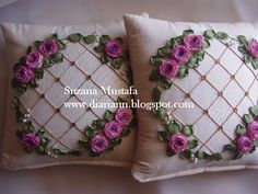 cheap decorative cushions australia Press VISIT link above for more options - Cushions – Update Your Sofa With New Cushions Ribbon Embroidery Tutorial, Silk Ribbon Embroidery, Hand Embroidery Designs, Embroidery Hoop Nursery, Cushion Embroidery, Ribbon Art, Diy Ribbon, Band Kunst, Floral Bedspread