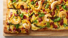How to Make Poblano Shrimp Flatbread Video Seafood Recipes, Mexican Food Recipes, Appetizer Recipes, Dinner Recipes, Appetizers, Seafood Dishes, Shrimp Flatbread Recipe, Flatbread Recipes, Chicken Flatbread