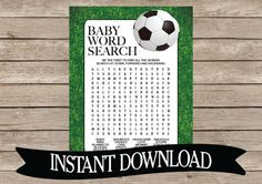 SOCCER Baby Shower Word Search Game Card  by celebrateitparties