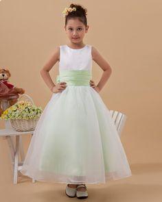 Satin Organza Layered Sash Ankle Length Flower Girl Dress