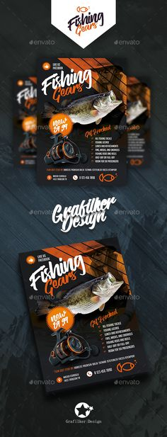 Fishing Gear Flyer Templates — Photoshop PSD #trout #river • Download ➝ https://graphicriver.net/item/fishing-gear-flyer-templates/20049218?ref=pxcr