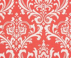 Coral Curtain Valance Floral Damask Valance Drapery Window Treatments Coral Valance