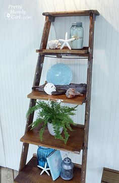 DIY Ladder Display Shelves - Instead of shelling out the big bucks, find an old ladder with charm and make one yourself! This blog is great!