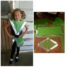 Quick and Easy diy space costume-perfect for vbs! Use a $1 plastic table-cloth from the dollar store and duct tape. Create a diamond shape, using the table-cloth and duct tape. Cut a head-shaped hole in the center of the diamond. Measure waist and create a rectangle shape that can fit around the waist..presto! Instant Costume!!! (Great idea from a creative friend)